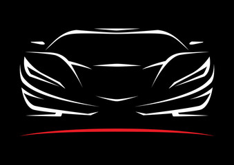 Panel Szklany Samochody Concept Sportscar Vehicle Silhouette. Vector illustration.