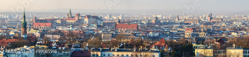 Panoramic view of Royal Wawel Castle in Krakow and St. Mary's Basilica, view from Krakus Mound - 99085918