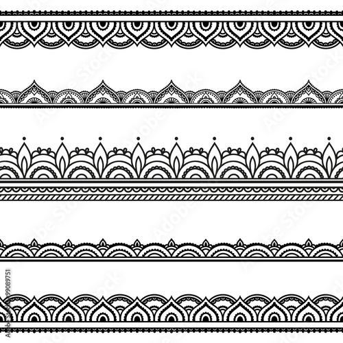 Vector Henna Seamless Borders Mehndi Style Buy This Stock Vector