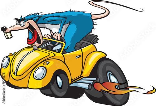 Fotografia Hot Rod Rat Cartoon Rat in a Hot Rod Car.