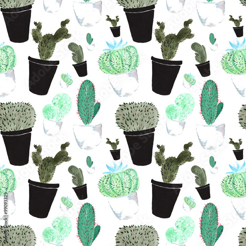 Cotton fabric seamless pattern , consisting of a hand-drawn elements of the pl