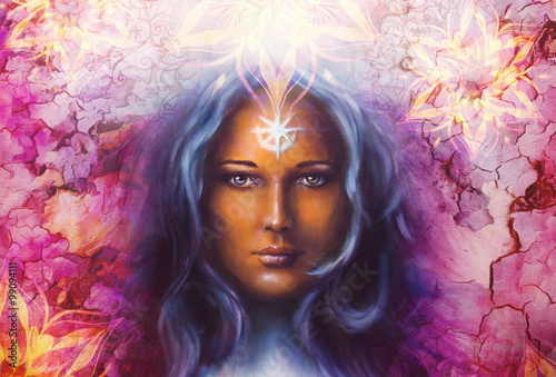 Fototapety, obrazy: Beautiful Painting Goddess Woman with ornamental mandala and color abstract background  and desert crackle.