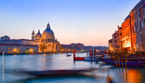 Staande foto Venice Basilica Santa Maria among the Grand Canal and traditional gondolas in Venice city,