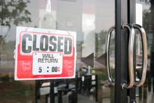 Sign Closed In Restaurant.