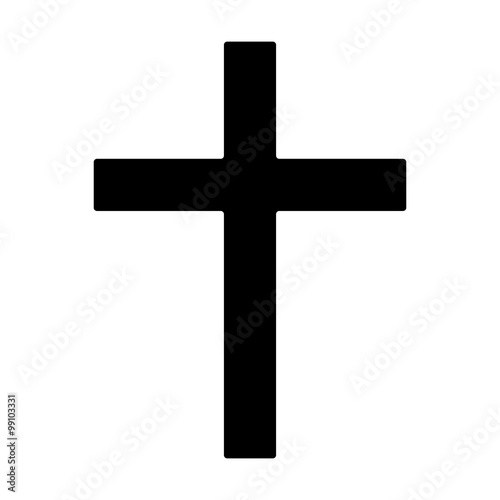 Fotografie, Obraz  Christian cross - symbol of Christianity flat icon for apps and websites