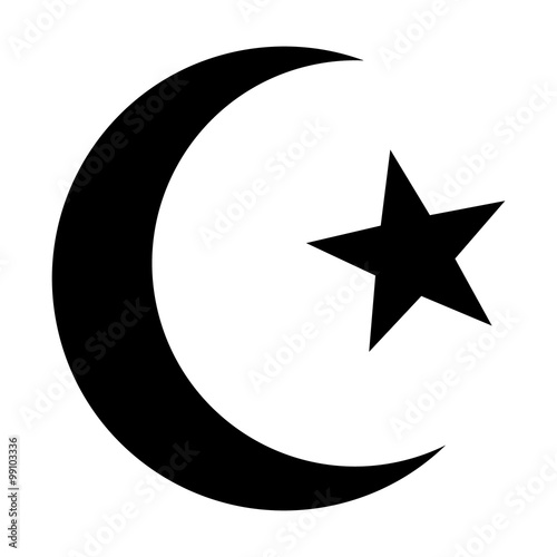 Photo  Star and crescent - symbol of Islam flat icon for apps and websites