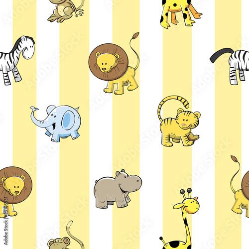 wektorowy-bezszwowy-wzor-z-slicznej-kreskowki-afrykanskimi-zwierzetami-na-pasiastym-tle