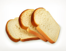 Sliced Fresh Wheat Bread Isolated On White Background, Bakery Vector Icon