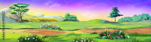 Poster Lime groen Panorama Landscape with trees and flowers. Image 01