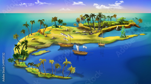 Obraz na plátně Pirate island. Top view