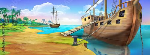 Naklejka premium Statek piracki na brzegu Wyspy Piratów. Widok panoramiczny
