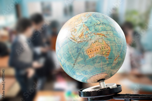 Canvas Print the globe during geography class