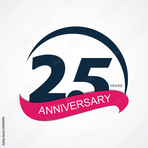 Poster  Template Logo 25 Anniversary Vector Illustration