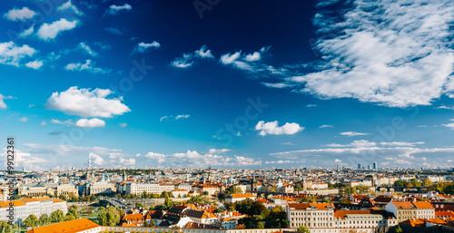 Photo  Aerial, panorama, cityscape of Prague, Czech Republic.
