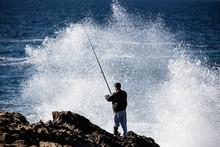 Fisherman On Coast Of Northern California