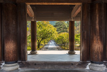 Wooden Entrance Of A Japanese Temple In Kyoto