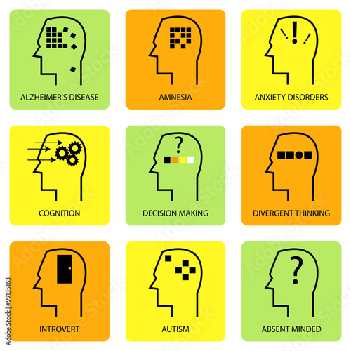 Fotografie, Obraz  Line Art Icon Of Human Mind