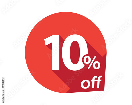 Photo  10 percent discount off red circle