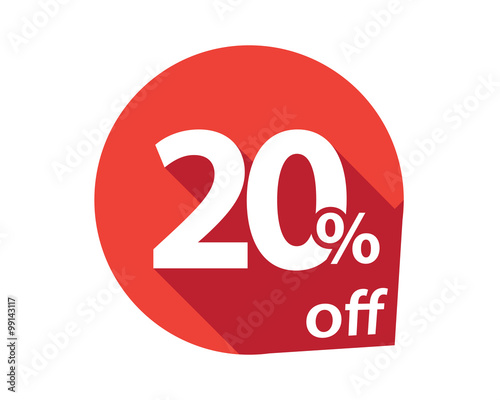 Photo  20 percent discount off red circle