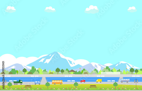 Tuinposter Lichtblauw 雪山と公園の風景