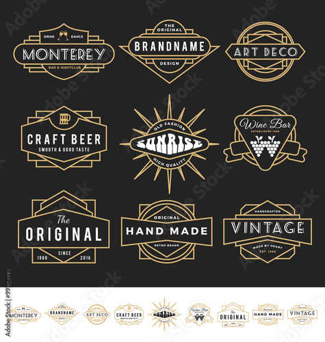 Photo  Set of retro badge logo for vintage product and business such as night club, whiskey, brewery, wine, craft beer, restaurant, handmade product