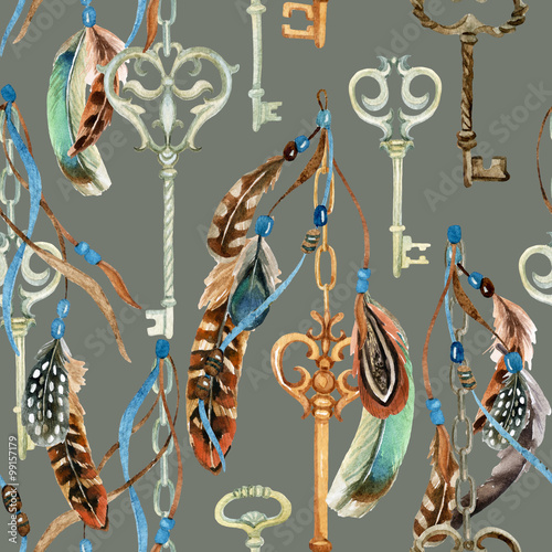 Cotton fabric Vintage key with feathers and ribbons in the style of boho