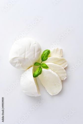 Fototapeta Fresh mozzarella with basil obraz