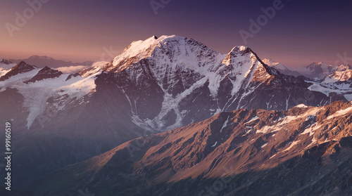 Poster Aubergine High mountain in morning time. Beautiful natural landscape.