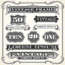 Vintage Labels, Frames And Ornaments