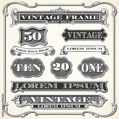 Obraz Vintage Labels, Frames and Ornaments  - fototapety do salonu
