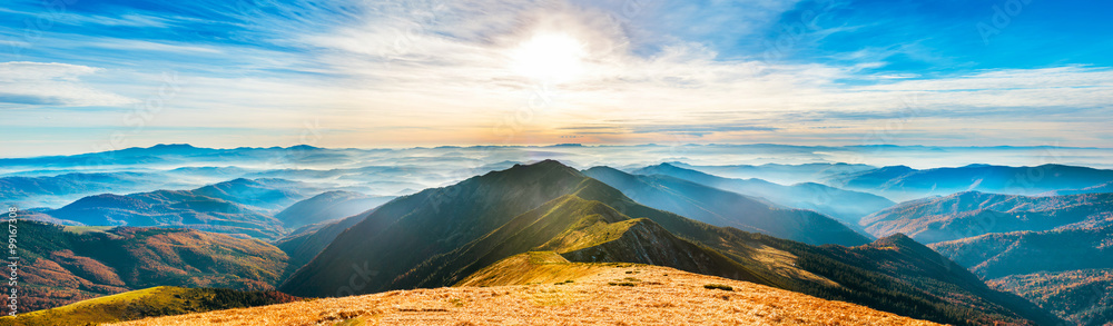 Fototapety, obrazy: Mountain landscape at sunset