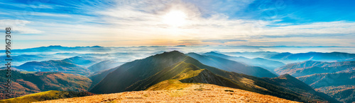 Spoed Foto op Canvas Blauw Mountain landscape at sunset