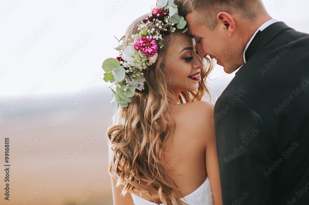 Fototapeta portrait of a girl and couples looking for a wedding dress, a pi