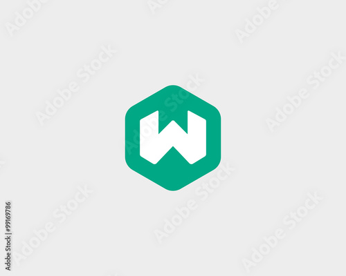 Abstract letter W logo design template. Colorful creative hexagon ...