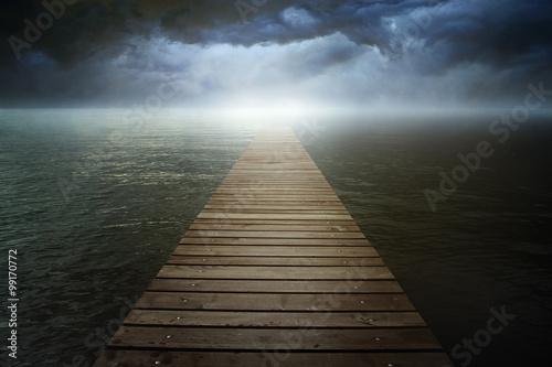 Poster Lac / Etang Dark cloudscape over surreal lake