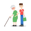 Man helping elder. Boy helps old lady. Flat style vector illustr