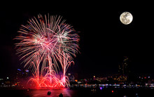 Fireworks Celebration With Super Moon In The City