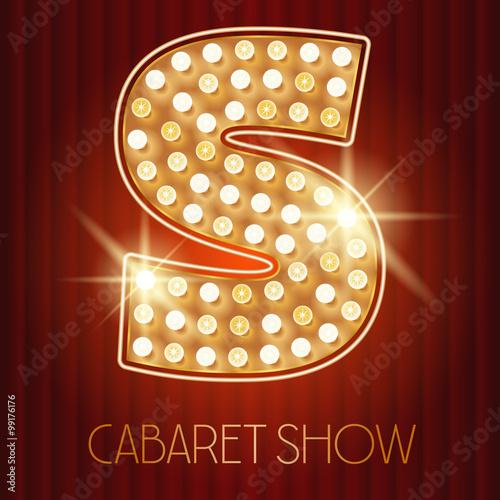 Fotografie, Obraz  Vector shiny gold lamp alphabet in cabaret show style. Letter S