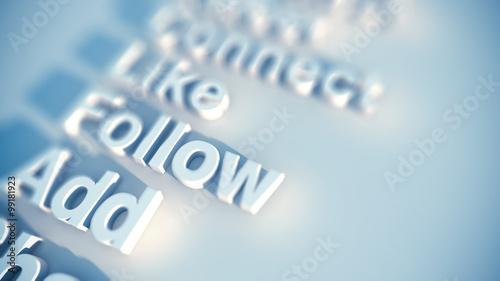 Obraz social media keywords - fototapety do salonu