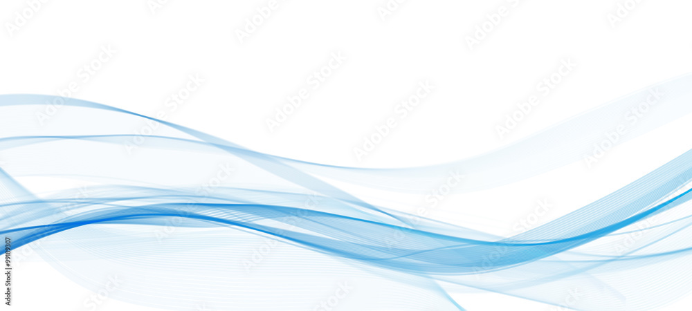 Fototapeta abstract blue line wave  whit background