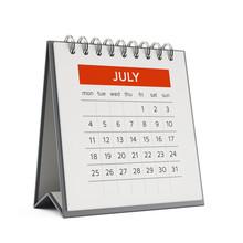 3d July Desktop Calendar