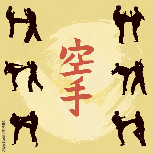 Hieroglyph of karate and men demonstrating karate. - 99197530