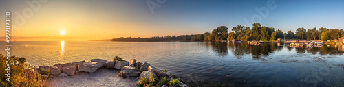 Poster Ochtendgloren View of a beach at a Provincial Park in Ontario Canada during sunrise