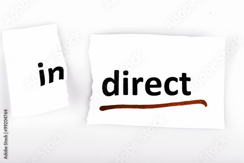 The word indirect changed to direct on torn paper Poster