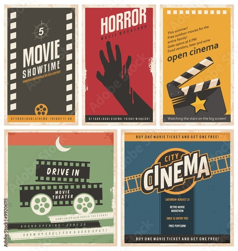 Photo  Retro cinema posters and flyers collection