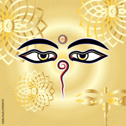 Traditional Buddha Eyes Symbol Wisdom Eyes With Gold Henna Manda