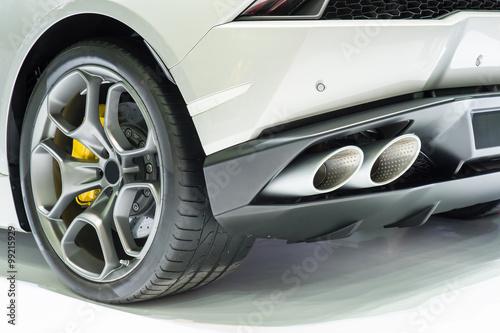 Staande foto Cartoon cars New generation of sportive mufflers. Rectangular Car Exhaust Tai