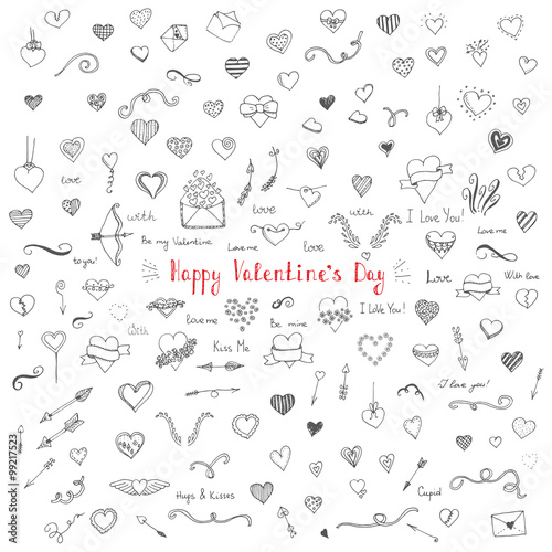 Set Of Hand Drawn Happy Valentine S Day Symbols And Icons Heart