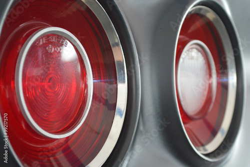 Closeup Of Round Vintage Muscle Car Tail Lights Buy This Stock