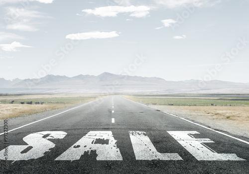 Fototapety, obrazy: Sale word on asphalt road